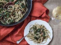 Spaghetti with Beet Greens and Basil Pesto