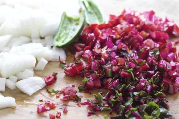ingredients for Chard Enchilada filling