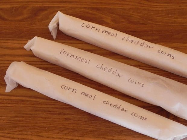 rolled dough logs for cornmeal cheddar cheese coins