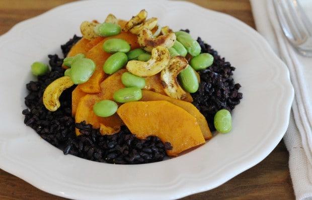 squash, black rice, edamame