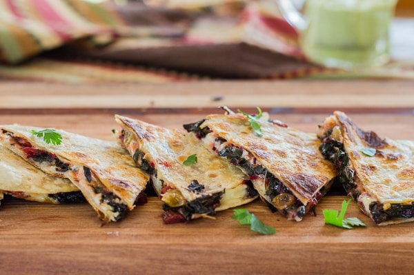 Side view Chard and Pepper Jack Quesadillas with Avocado Cream | Letty's Kitchen
