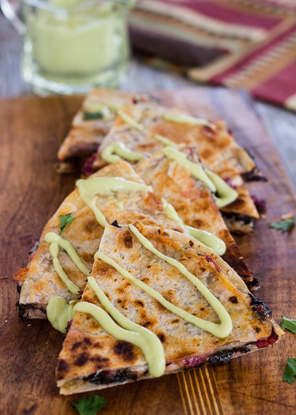 Chard and Pepper Jack Quesadillas with Avocado Cream | Letty's Kitchen