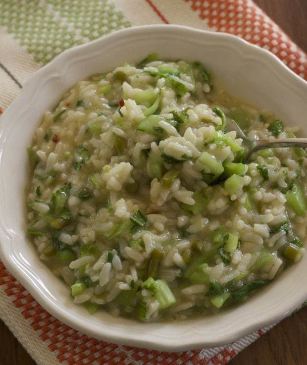 Easy to make in Instant Pot pressure cooker creamy risotto with bok choy.