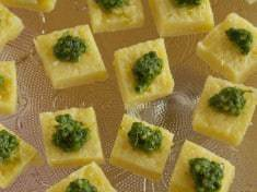 Arugula and Cashew Pesto on Polenta Bites {gluten-free}