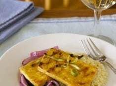 Jalapeño Orange Glazed Tofu with Red Onions and Fennel