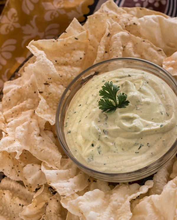 Indian Pappadam Crackers with Curried Cashew Dip