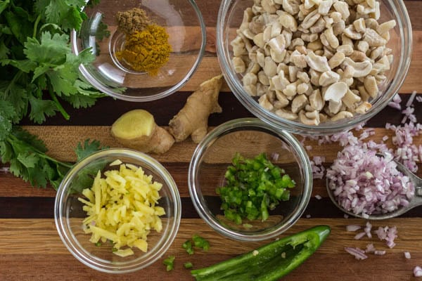 Ingredients for Curried Cashew Dip