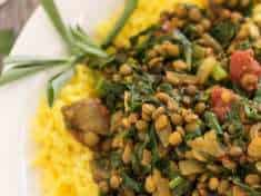 Lentil Spinach Keema and Saffron Rice {vegan, gluten free}