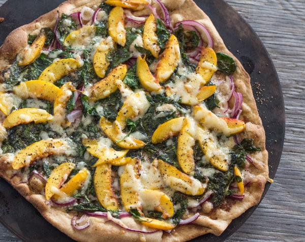 Peach and Arugula Pizza whole baked
