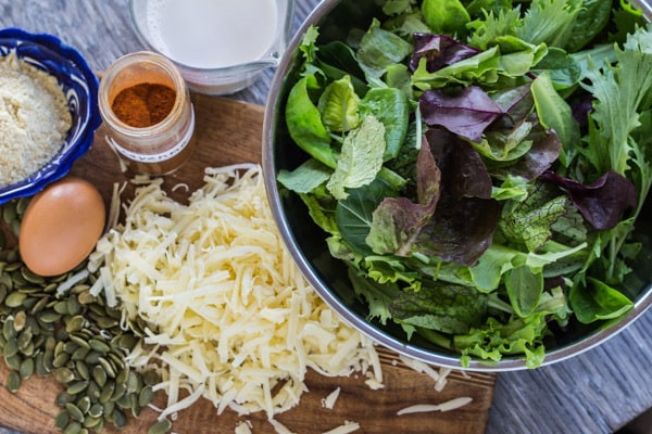 ingredients for Healthy Salad Greens Torta