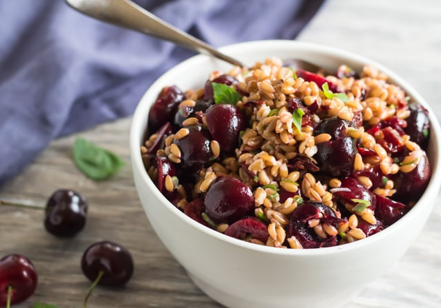 Cherry and Farro Salad with Pressure-Cooked Farro - Letty's Kitchen