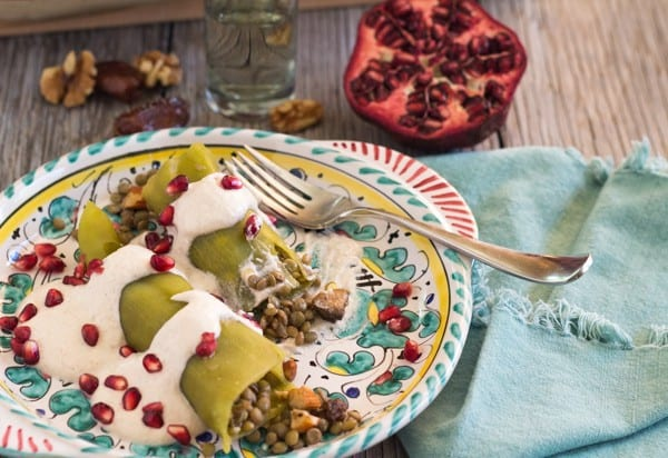 Lentil Chiles Rellenos with Creamy Walnut Sauce | Letty's Kitchen