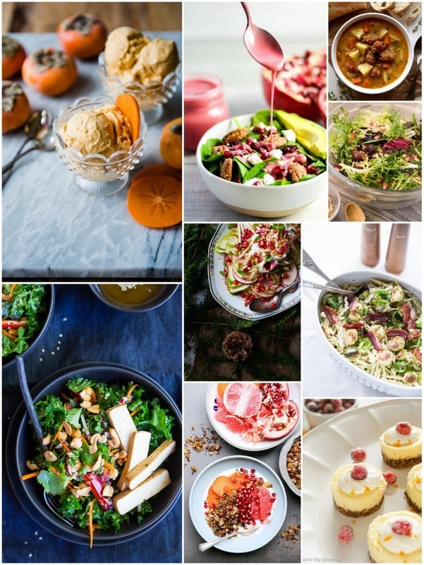 recipe collage for Winter Greens with Pomegranate Seeds and Olives | Letty's Kitchen