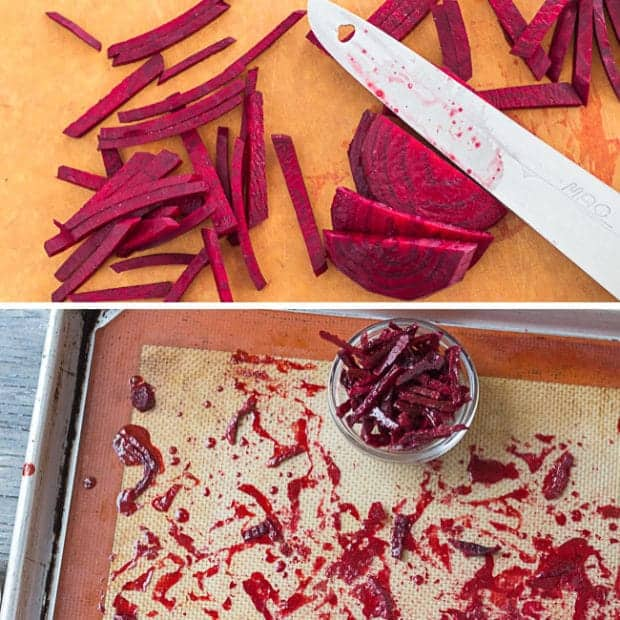 candied beets for Red Velvet Chocolate Beet Cake | Letty's Kitchen