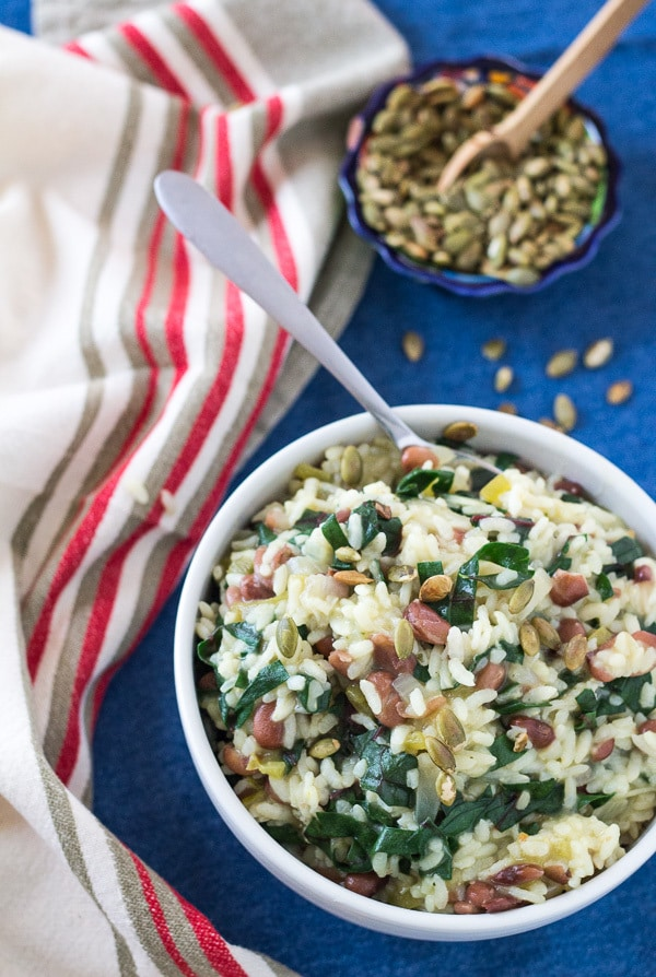 overhead Spicy Instant Pot Chard and Pinto Bean Risotto   Letty's Kitchen