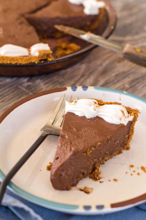 Close up slice of Chocolate Honey Pie with Cinnamon Graham Crust | Letty's Kitchen