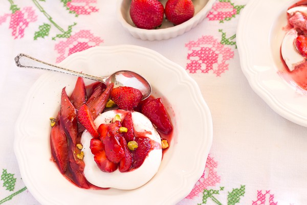 Roasted Rhubarb Crazy Berry Meringues one plate