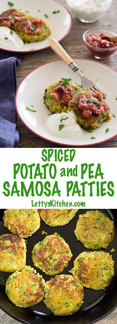 Spiced potato and pea samosa patties--with fresh ginger, turmeric, cilantro, and green chiles. Gluten-free and vegan. Serve with fruit chutney and yogurt sauce.