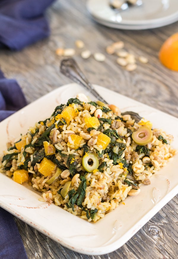 Brown Rice Mustard Green Pilaf with Orange, Olives, and Peanuts