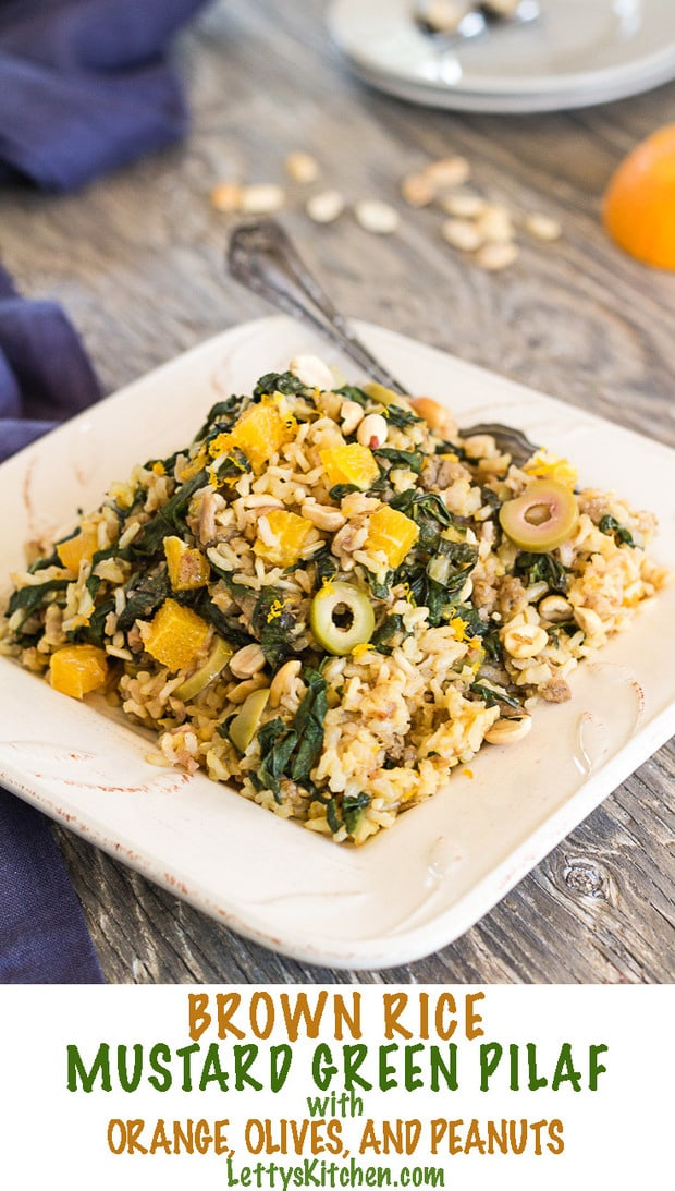 This flavorful vegan Brown Rice Mustard Green Pilaf with Orange, Olives, and Peanuts can also be made in an Instant Pot pressure cooker.