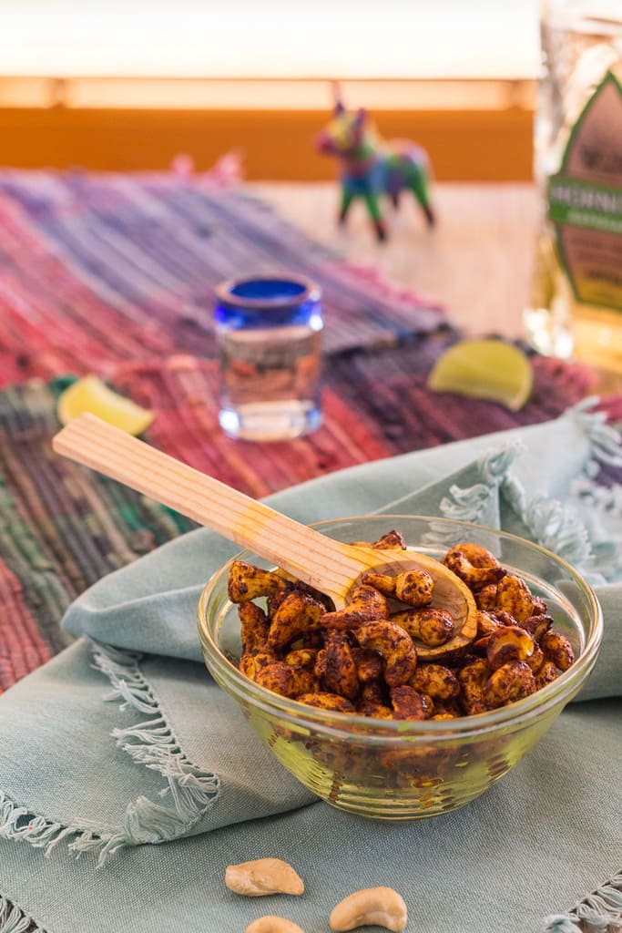 Skillet Roasted Curried Cashews--spicy, salty, and a little bit sweet--these roasted cashews come together in 15 minutes--stovetop. No need to turn on an oven!