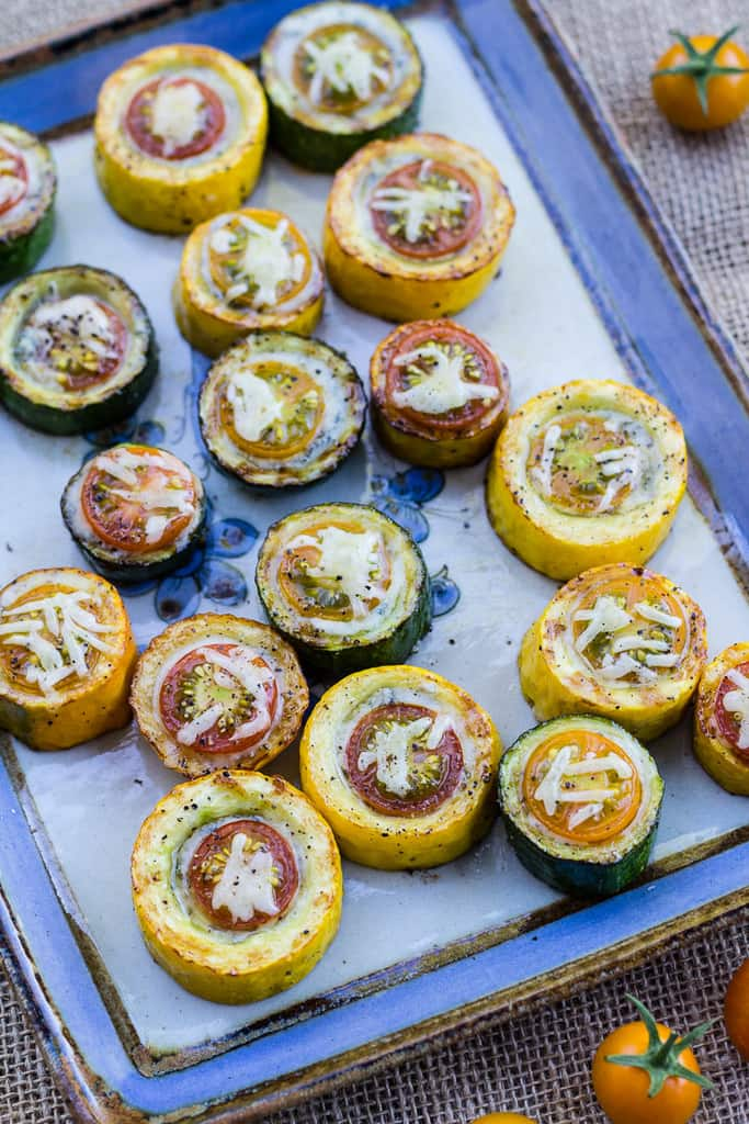Grilled Zucchini, Cherry Tomato, and Gorgonzola Bites. A flavorful colorful gluten-free appetizer!