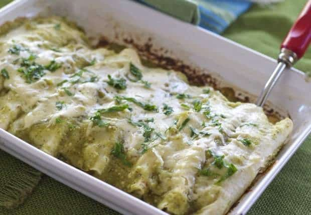 Vegetarian Green Enchiladas with Spinach and Arugula