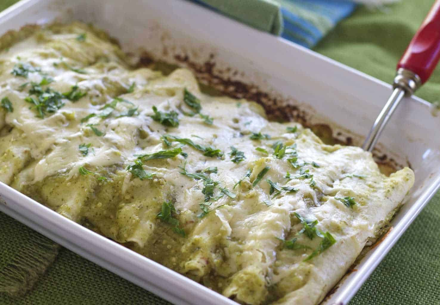 Green Enchiladas With Spinach And Arugula Vegetarian Letty S Kitchen