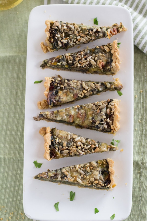 Mushroom, Chard, and Cheddar Tart | Letty's Kitchen