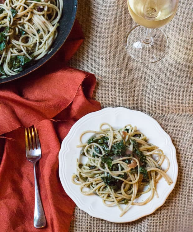 Spaghetti with Beet Greens and Basil Pesto | Letty's Kitchen