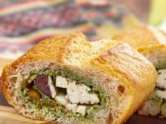 Vegetarian Pan Bagnat with Pesto