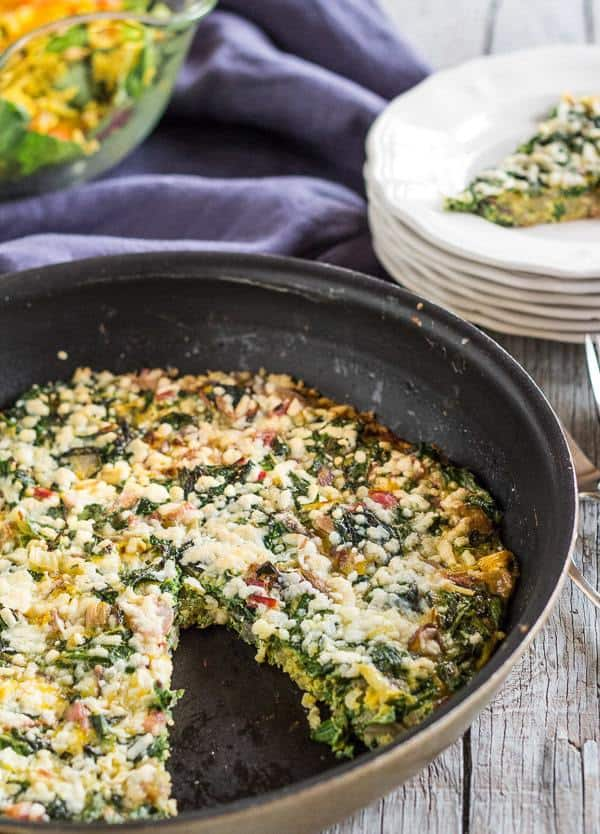 Easy vegetarian Rainbow Chard Frittata recipe uses the chard stalks as well as the leaves. Gluten-free.