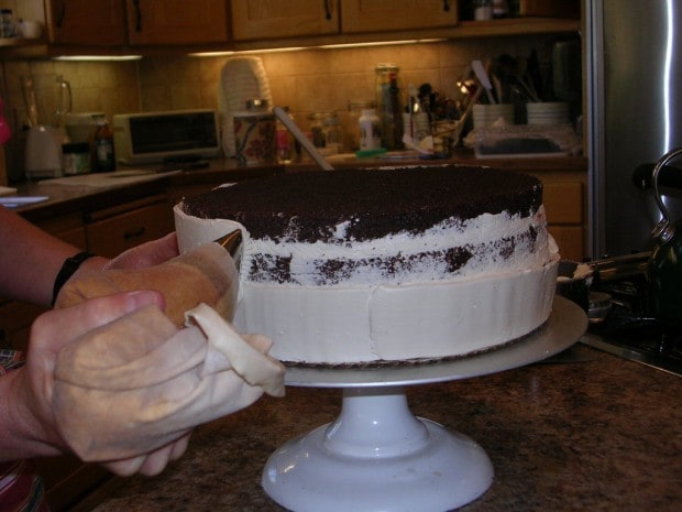 Crumb coat for chocolate truffle wedding cake