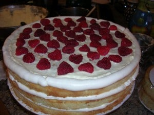 Triple Lemon Cake with raspberries for a wedding cake made with love