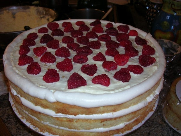 Triple Lemon Cake with raspberries wedding cake