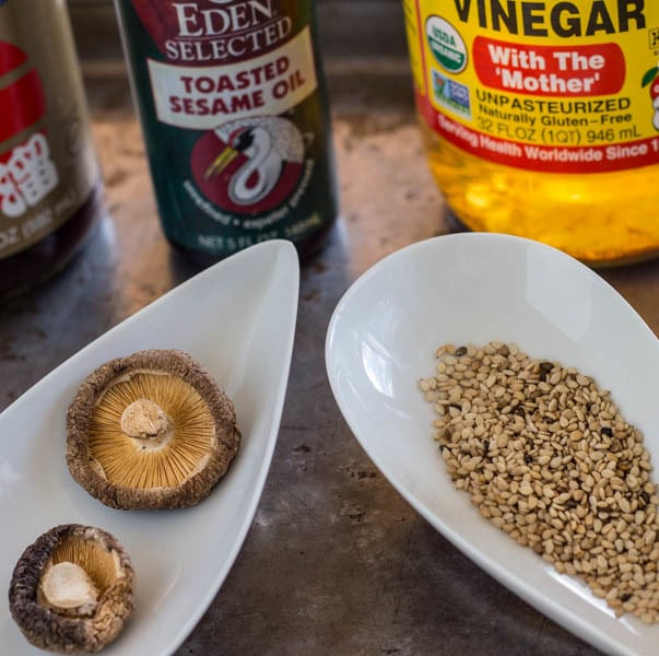 dressing ingredients for Sesame Shiitake Vinaigrette