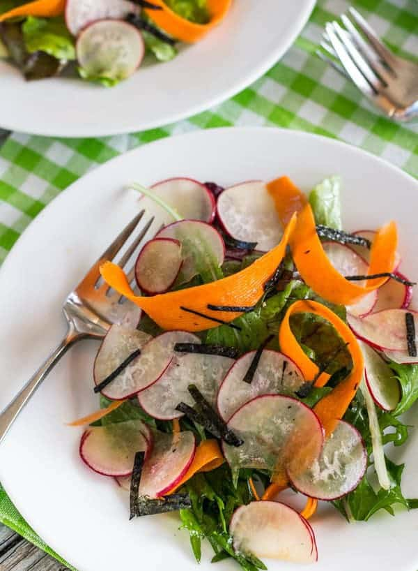 Sesame Shiitake Vinaigrette and Asian Radish Salad