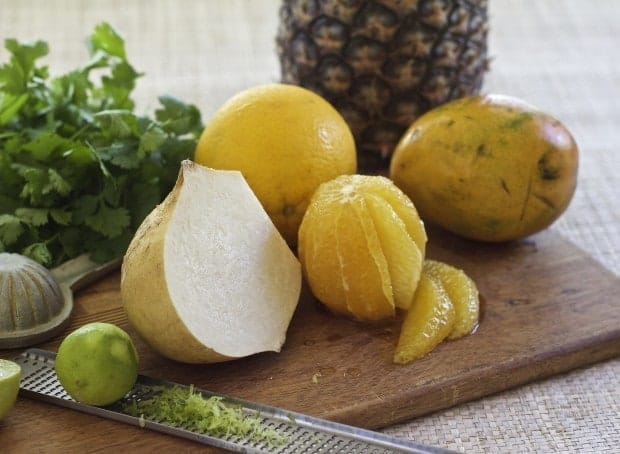 ingredients for Jicama Fruit Salad with Cilantro and Lime