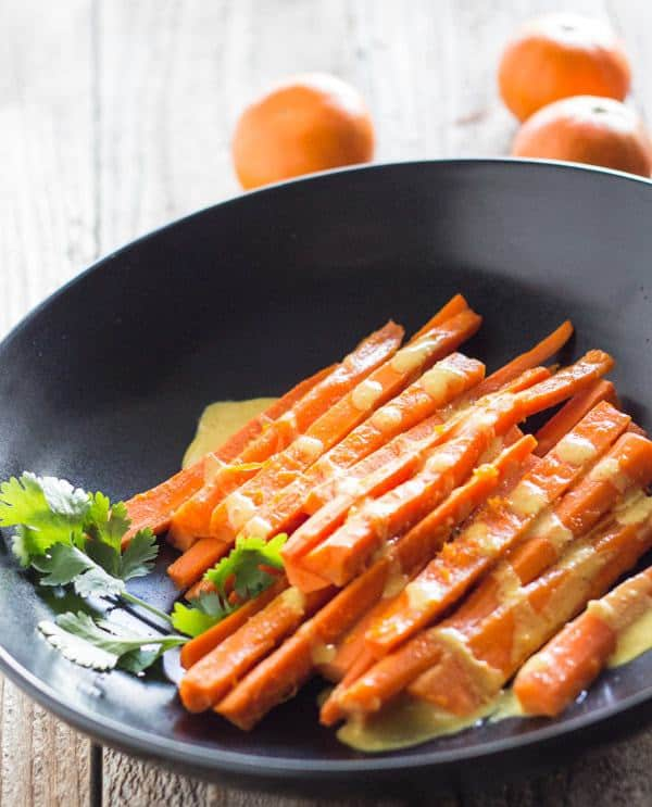 Tequila Carrots with Curry Tahini Sauce