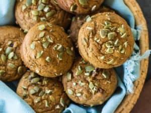 Maple Cranberry Pumpkin Muffins in basket