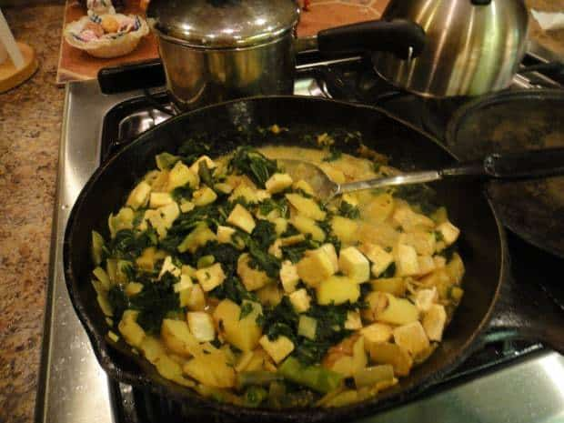 Coconut Curried Potatoes and Kale with Tofu