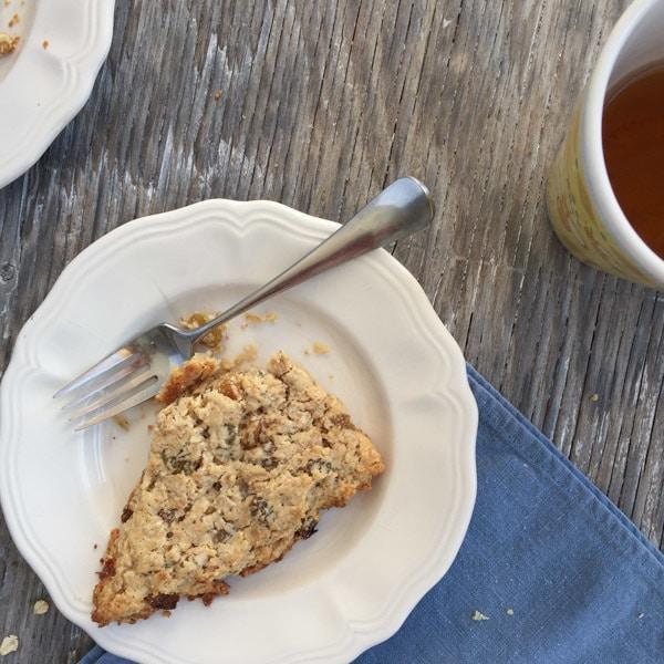 Rosemary Oatmeal Scones with tea-