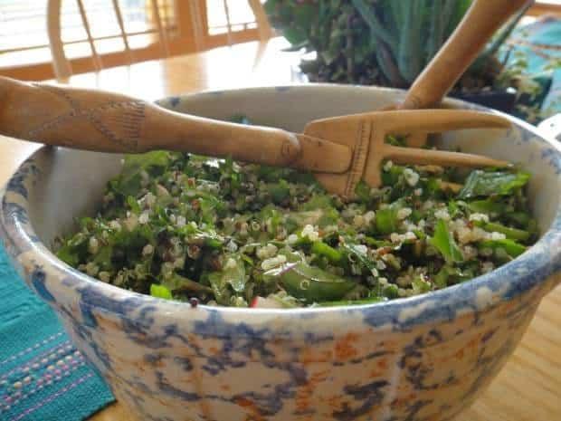 Kale and Quinoa Salad with plenty of crunchy veggies