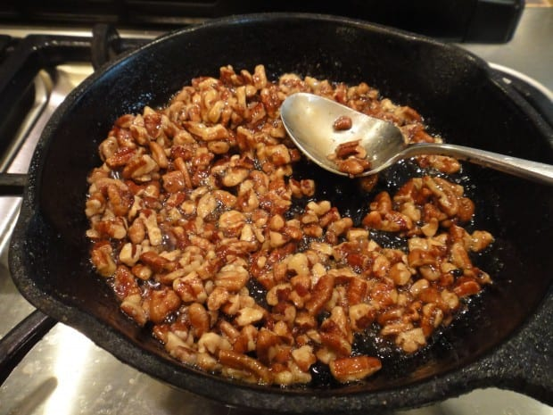 Candied Pecans in skillet for Chioggia Beet Salad
