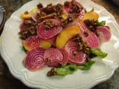 Shaved Chioggia Beets, Arugula, Peaches and Salty-Sweet Pecans