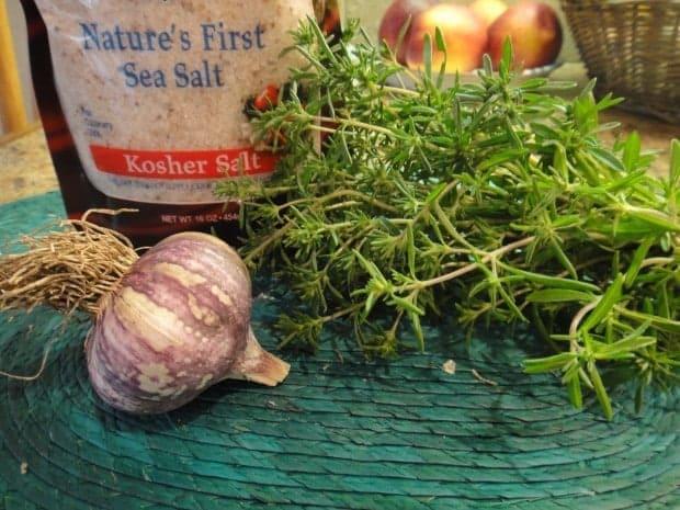 ingredients for Summer Savory and Garlic Salt | Letty's Kitchen