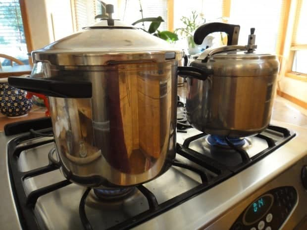 My two stovetop Pressure cookers - Swiss-made on the left and Italian-made on the right