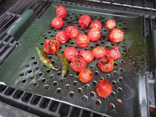 Charred tomatoes and chiles for Easy Mexican Tomato Sauce