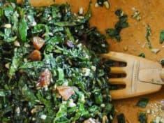 Kale Salad with Sunflower Seed Pesto and Apricots