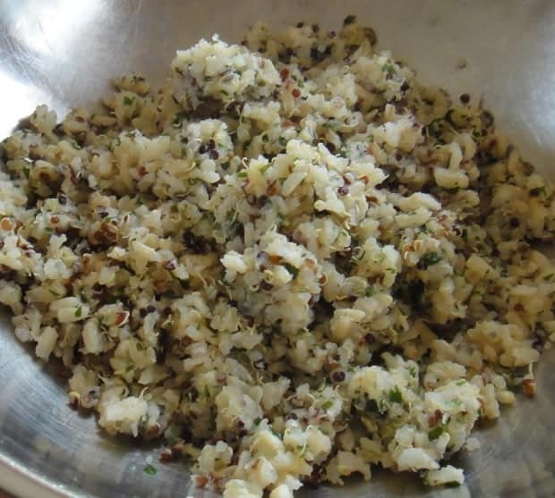 quinoa and rice pilaf for Caprese Veggie Patties with Basil Arugula Pesto